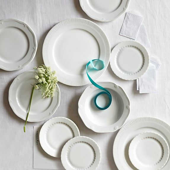 I love the mixed look of Eclectique Dinnerware Place Setting, White | Williams-Sonoma