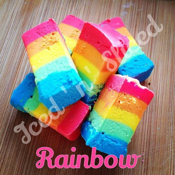 Rainbow fudge  homemade perfect sweet chocolate by IcednSliced