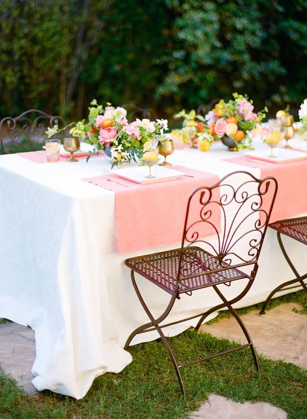 a happy coral and orange springtime table by kelly oshiro for sbchic. Photo: jess wilcox