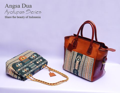 Indonesian tenun bag. Made from tenun ayoutupas mixed italian cow leather   Angsa Dua Indonesian premium handbag brand