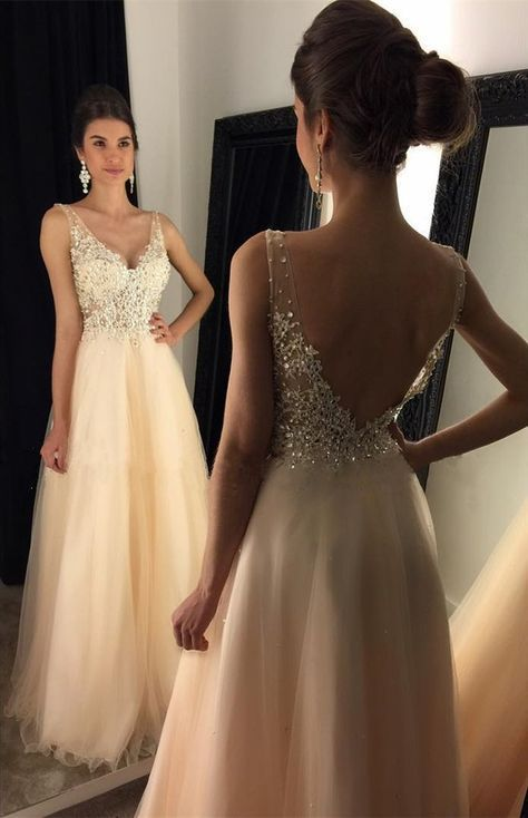 Newest 2017 V-Neck Appliques Beaded Long A-line Beige Tulle Prom Dresses The dress is fully lined, 4 bones in the bodice, chest pad in the bust, lace up back or zipper back are all available, total 12