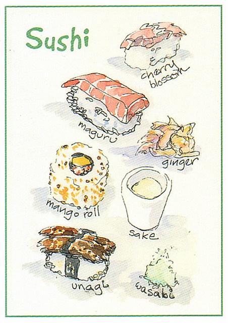 Sushi Watercolor Art card by >WonderMike<, via Flickr