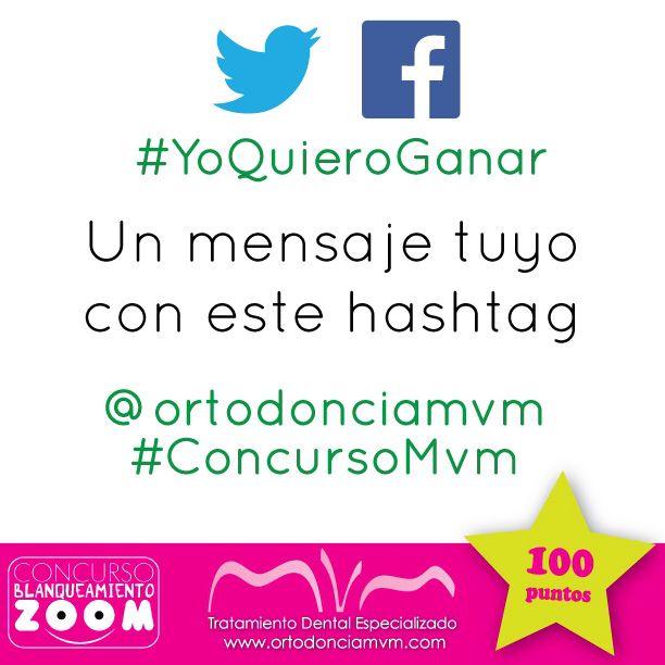 Esta es la nueva actividad  si estas concursando desde facebook o twitter escribe en tu muro con este hashtag #YoQuieroGanar seguido de tu mensaje y #ConcursoMvm @ortodonciamvm Te damos este fin de semana para que te inspires  #AGanar #BlanqueamientoZoom #FelizViernes