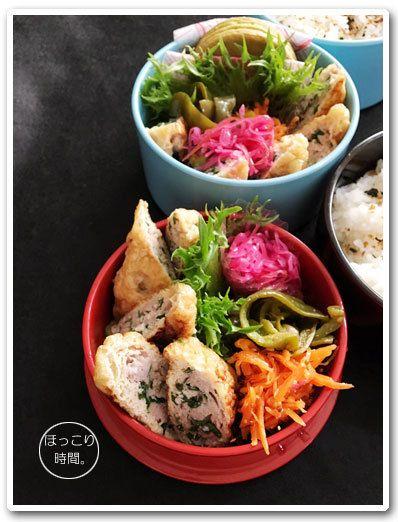 #2017atsuko_obento .✻いなり餃子✻人参のハニーマスタード和え✻紫キャベツの甘酢漬け✻ピーマンの焼きびたし