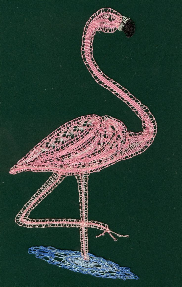 A cheeky flamingo worked in Milanese bobbin lace.