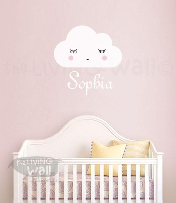 Personalized Baby Name Wall Art, Personalized Baby Girl Name With Dreaming Cloud Removable Wall Sticker, Wall Decals Nursery Decor