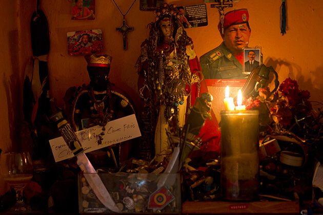 Venezuelan espiritista altar incorporating catholic ...