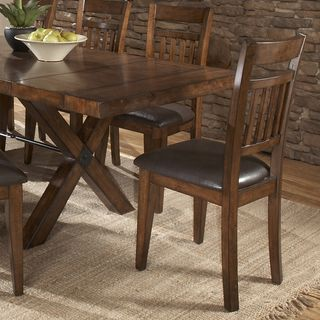 Tribecca Home Inverness Warm Oak Cushioned Mission Dining Chair Set Of 2