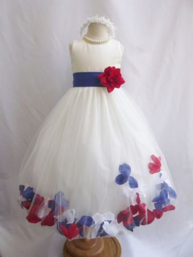 Ivory Red White And Blue Fourth Of July Rose Petal