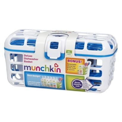 Munchkin Deluxe Dishwasher Basket:: great for washing pacifiers, bottle and sippy cup attachments