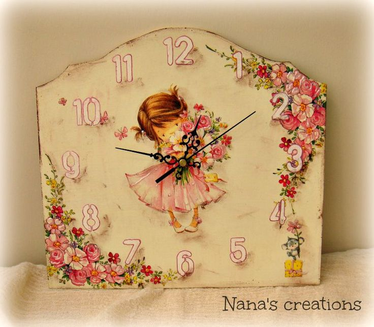 Wooden clock for a girl room