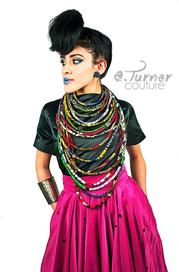 Multistrand African Necklace  Ankara Necklace  by ETurnerCouture