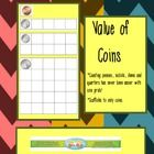 Value of coins is a visual lesson about finding the value of or counting coins.  Picture grids are included to show the value a penny, nickel, dime...