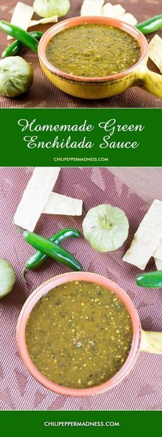 Homemade Green Enchilada Sauce with Roasted Tomatillos from http://ChiliPepperMadness.com