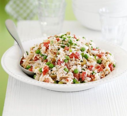 Help-yourself Tuna Rice Salad:      Ideal for busy households, this hearty salad keeps well in the fridge for up to three days, ready to be spooned into a bowl whenever you're peckish.    via: www.bbcgoodfood.com  www.myrealhealth.com