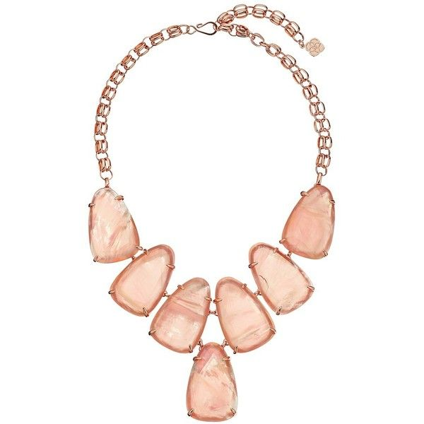 Kendra Scott Harlow Necklace (Rose Gold/Peach Illusion) Necklace ($195) ❤ liked on Polyvore featuring jewelry, necklaces, accessories, neck, pendant chain necklace, bib necklace, rose gold necklace, kendra scott necklace and chain bib necklace