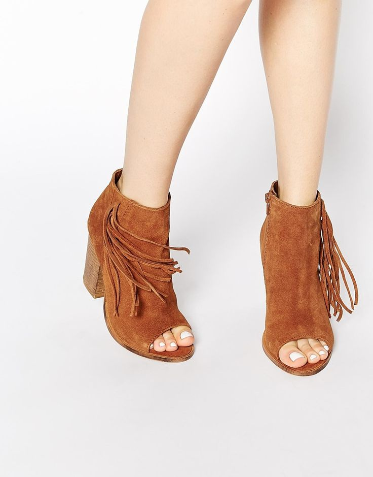 Image 1 of ASOS ENLIGHTEN Fringe Leather Peep Toe Boots