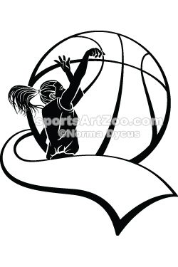 Sports Art Zoo - Girl-Basketball-Shooter-with-Pennant