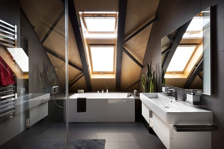 The Roof Structure Was Turned Into A Decorative Element In This Apartment