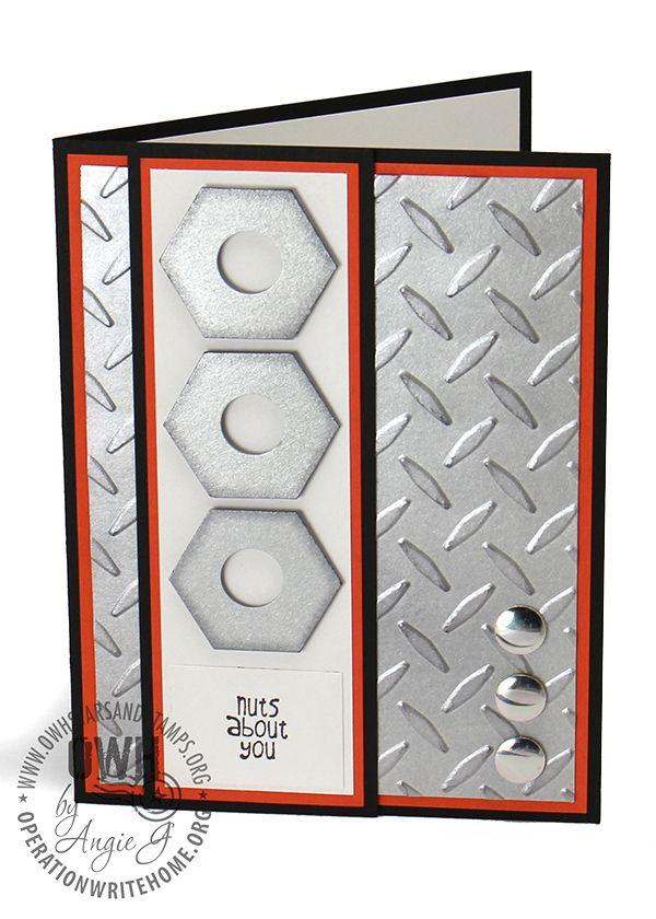 Cuttlebug Steel plate embossing folder ; SU Hexagon punch ; Circle punch ; Masculine card