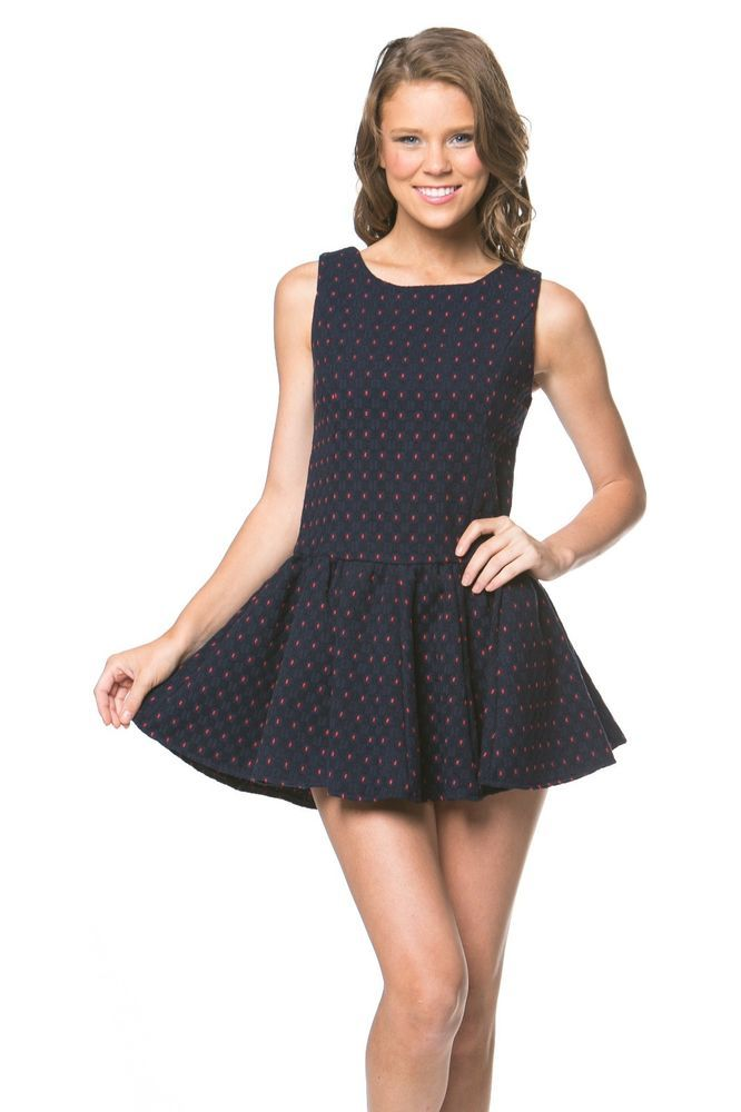 Polka Dots Velvet Sleeve Fit And Flare Winter Dress Navy/Blue Red Pink #LittleQueen #TeaDress