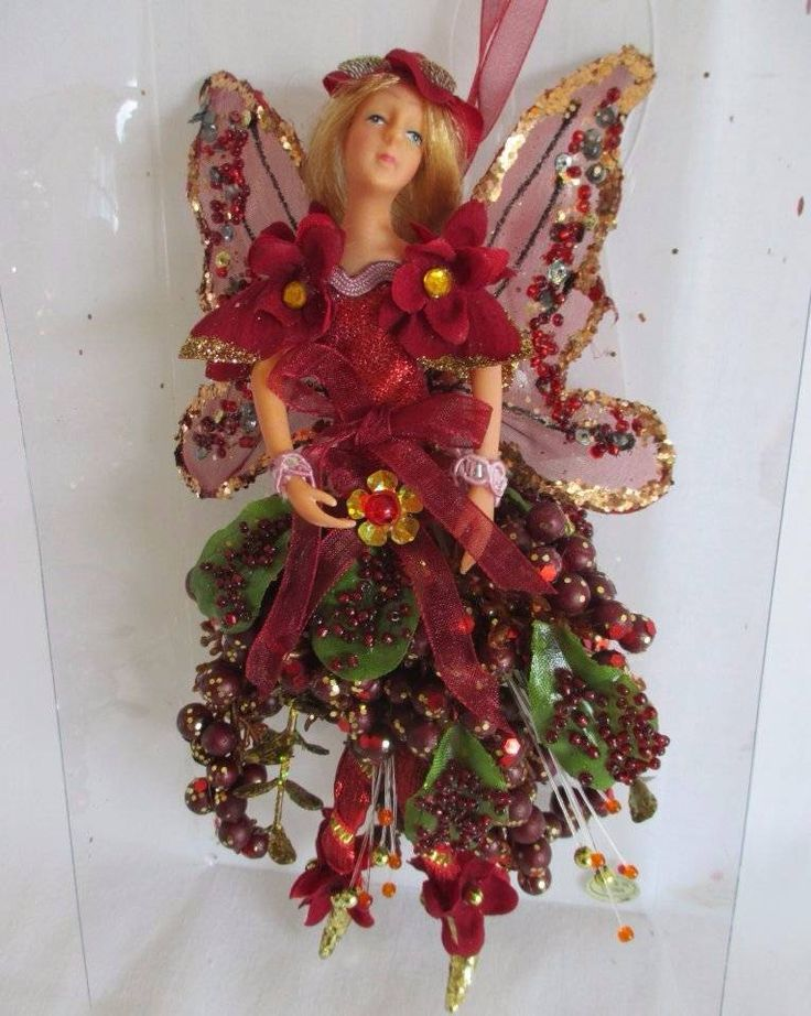 """Red Sparkle Fairy Xmas Ornament Wings and Holly Berries Fairy Figure 8"""" TJ Max #Unbranded"""