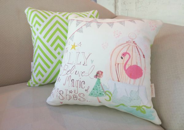 Molly and her flamingo feature a lot throughout iampoppy's illustrations and is a much loved character. Available now on a 40x40cm handmade cushion.