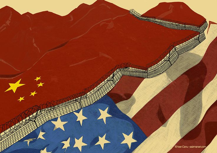 @Ivan Canu, Trumpenomics, scenaries of economics relationship between USA and China after Donald Trump's first steps as President, client: A Plus Magazine, AD: Queenie Lee - salzmanart.com #editorial #magazine #economics #USA #China #wall #greatwall #homeland #flags