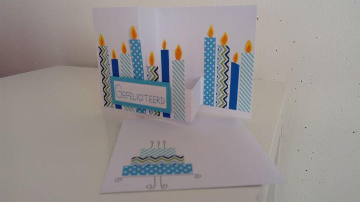 Verjaardagskaart met kaarsjes met bijpassende enveloppe en gemaakt met washi tapes