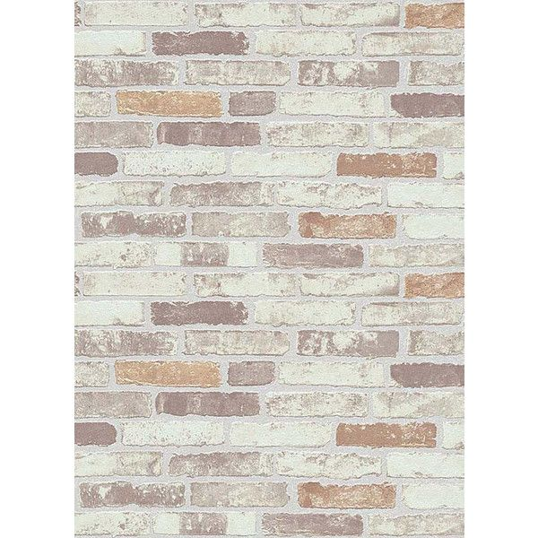 Bryce Faux Brick Wallpaper in Beige, Brown, and Creme design by BD... ($50) ❤ liked on Polyvore featuring home, home decor, wallpaper, faux wallpaper, brown wallpaper, brown home decor, plank wallpaper and cream wallpaper