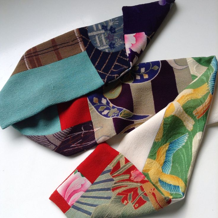 Scarf made from small pieces of vintage kimono which I bought in Japan