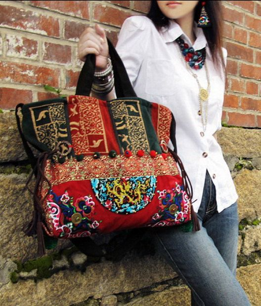 Hand Made Embroidery Great Floral Pattern Tote Bag by zeniche, $54.00