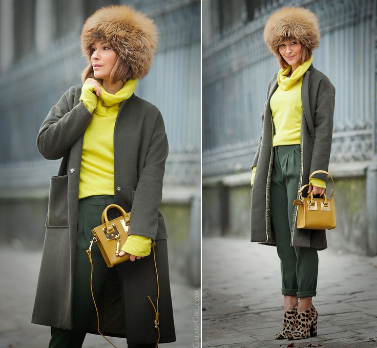 sophie hulme mini olive bag, sophie hulme olive bag, olive colors outfit, winter outfit, fox fur hat,