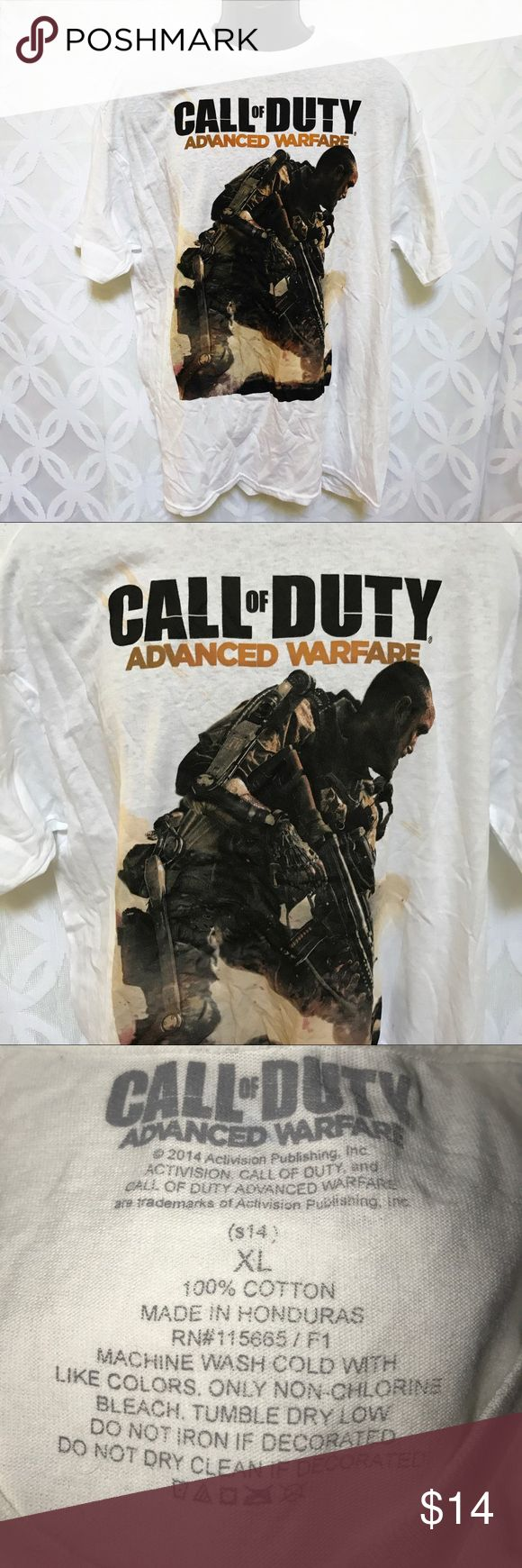 "Call of Duty Advance Warfare Activision Tee NWT. Call of Duty Advance Warfare Activision Tee NWT.                         Measurements Laying Flat Size 🔹XL or XXL Armpit to Armpit 24"" 26"" Shoulder to Hem 🔹31"" 32"" Bundle to Save 🤓 Sorry NO outside transactions 🚫 NO trades 🚫 Reasonable Offers welcomed 👍 NO Low balling 👎 NO modeling 👎 NO Holds👎 All items from a pet 😼and Smoke Free Home  Happy Poshing 🤗 Activision  Shirts Tees - Short Sleeve"