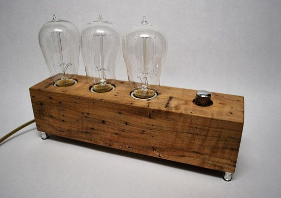 The Menlo Park Lamp Triple Edison in Wormy Maple by MenloParkLamps, $190.00