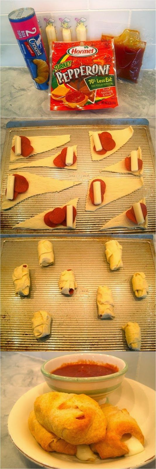 We make these all the time for a quick dinner!! One of our favorites!! FunStocki: Croissant Pizza Roll-Ups