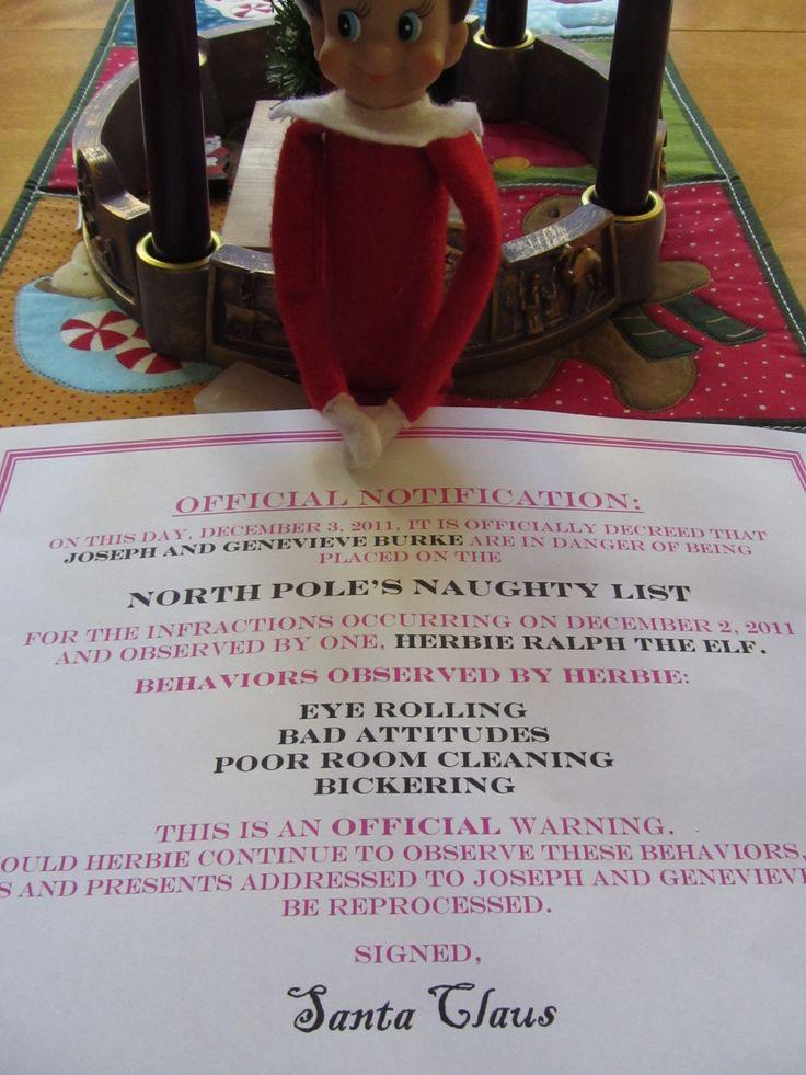 Elf on The Shelf Naughty List Notification