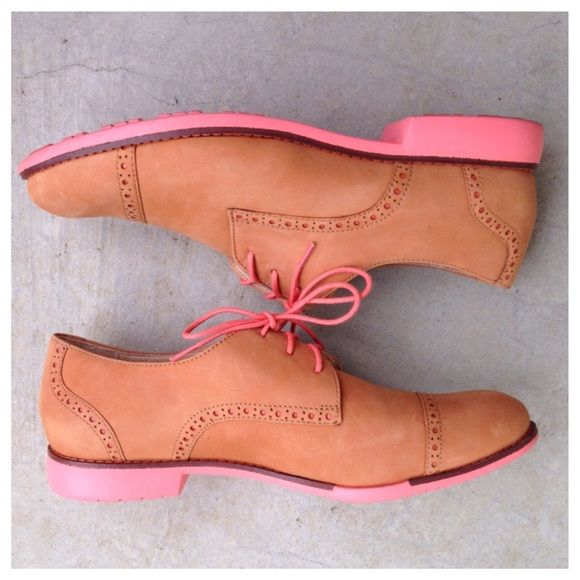 Cole Haan Gramercy cap toe Oxford wingtip tan Want these in my size! These are the cap toe Gramercy Oxford wingtip lace up loafers from Cole Haan. Tan nubuck suede leather with peach accents. Please check out my closet as there is a similar style available in blue! Cole Haan Shoes Flats & Loafers