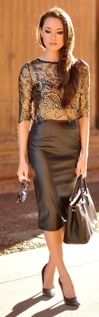 Thai Style Golden Lace Blouse with Vegan Leather Pencil Skirt by Hapa Time