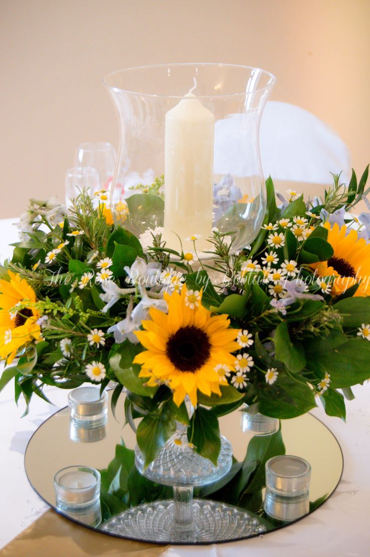 Sunflower And Delphinium Wedding Table Centre