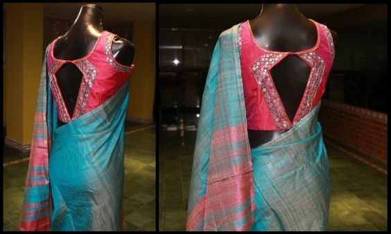 Mirror work around an unconventional opening made for this plain raw silk sari.Custom Designer Blouses - Studio149 by Swathi