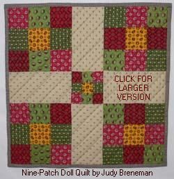 "1800's nine patch quilt pattern for A G 18"" Dolls [free]"