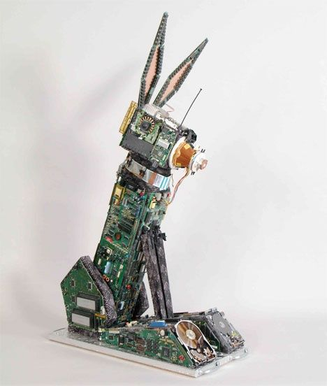 someone made some cool bunny art out of old circuit bored#hophop