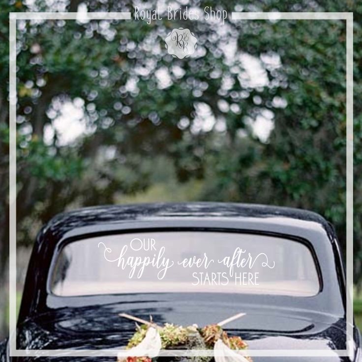 The car decals are nice wedding decorations, creating lovely memories for family and friends who are watching the new couple leaving the party.