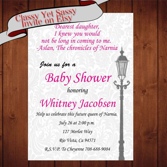 Damask Narnia Baby Shower Invitation Chronicles of Narnia Lion the Witch and the Wardrobe