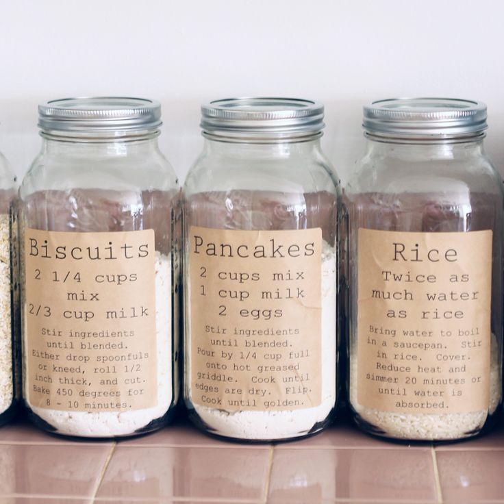 These pantry organization labels are perfect for your kitchen.  You can print them for free here and use on mason jars to organize your dry goods.
