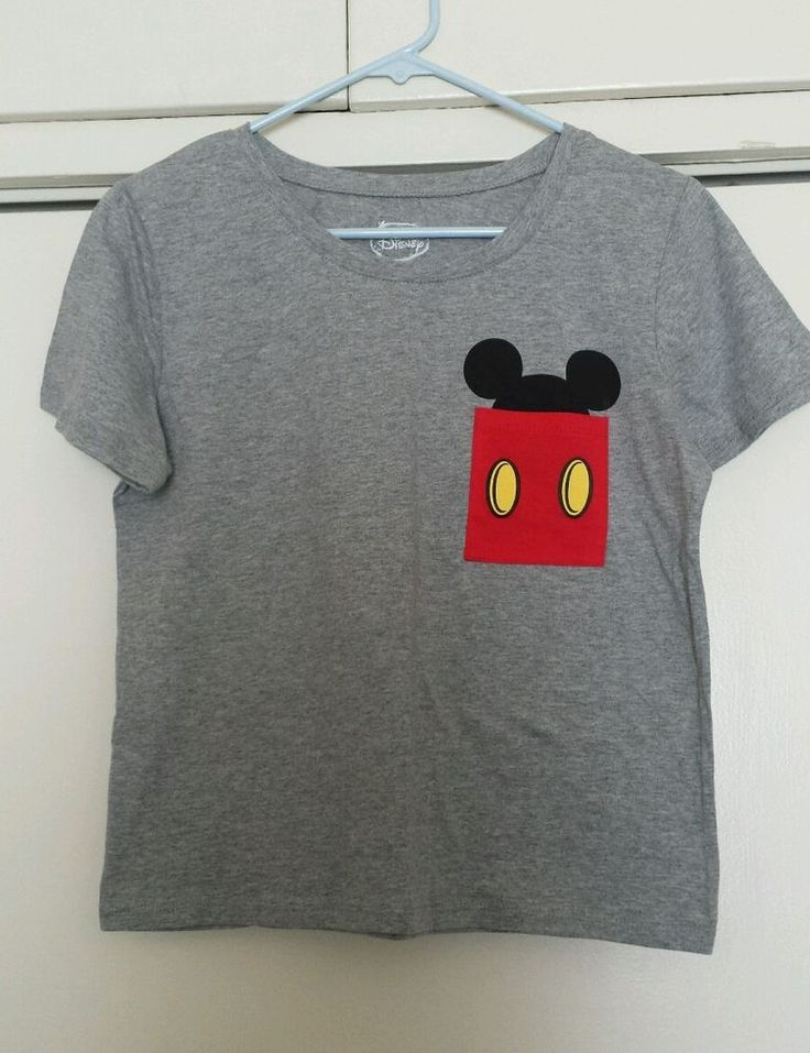 Disney Mickey Ears Women's Large Grey Pocket Shirt Top Blouse #Disney…