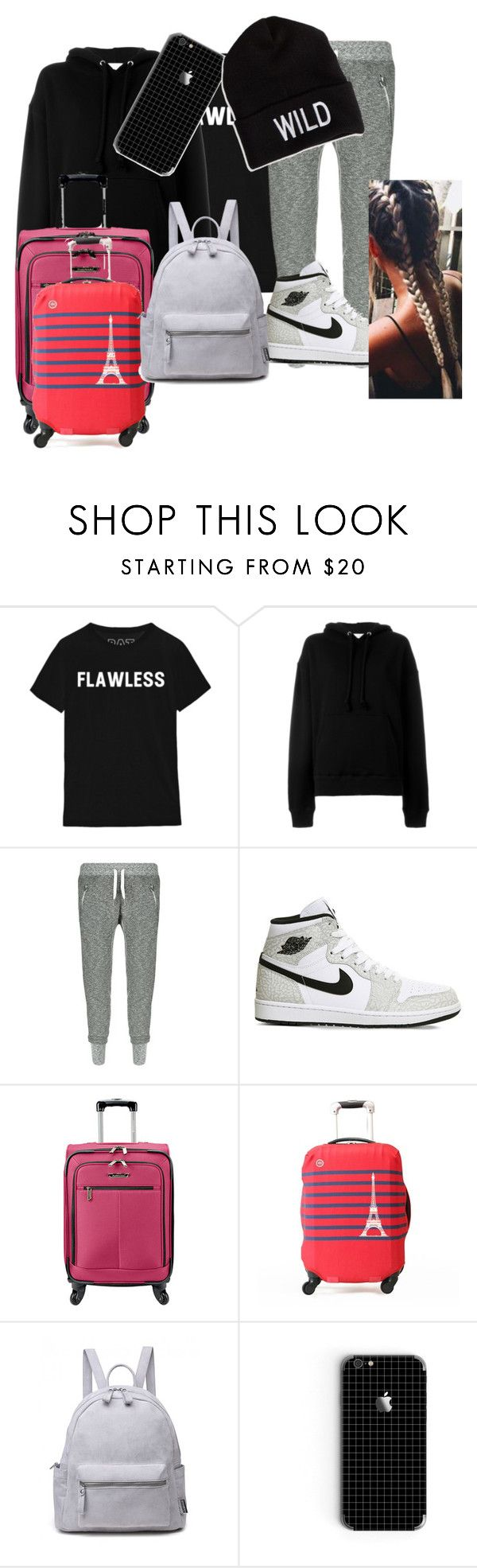 """""""Outfit for a plane"""" by igotnojams ❤ liked on Polyvore featuring IRO, True Religion, NIKE, Traveler's Choice, American Eagle Outfitters, outfit, plane and summer2016"""
