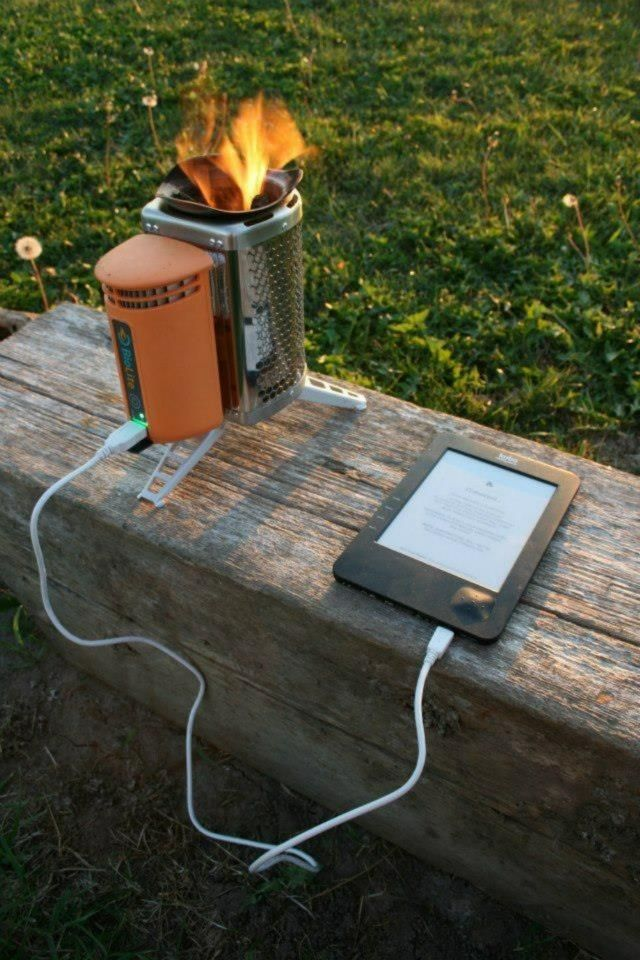 Converting heat from the fire into usable electricity, these clever stoves will recharge your phones, lights and other gadgets while you cook dinner. Unlike solar, BioLite CampStove is a true on-demand source    http://www.biolitestove.com/campstove/camp-overview/features/