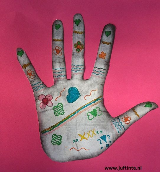 handen kinderen inscannen: henna tekening maken